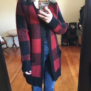 NWT Lucky Brand Red Plaid Buffalo Black Cardigan